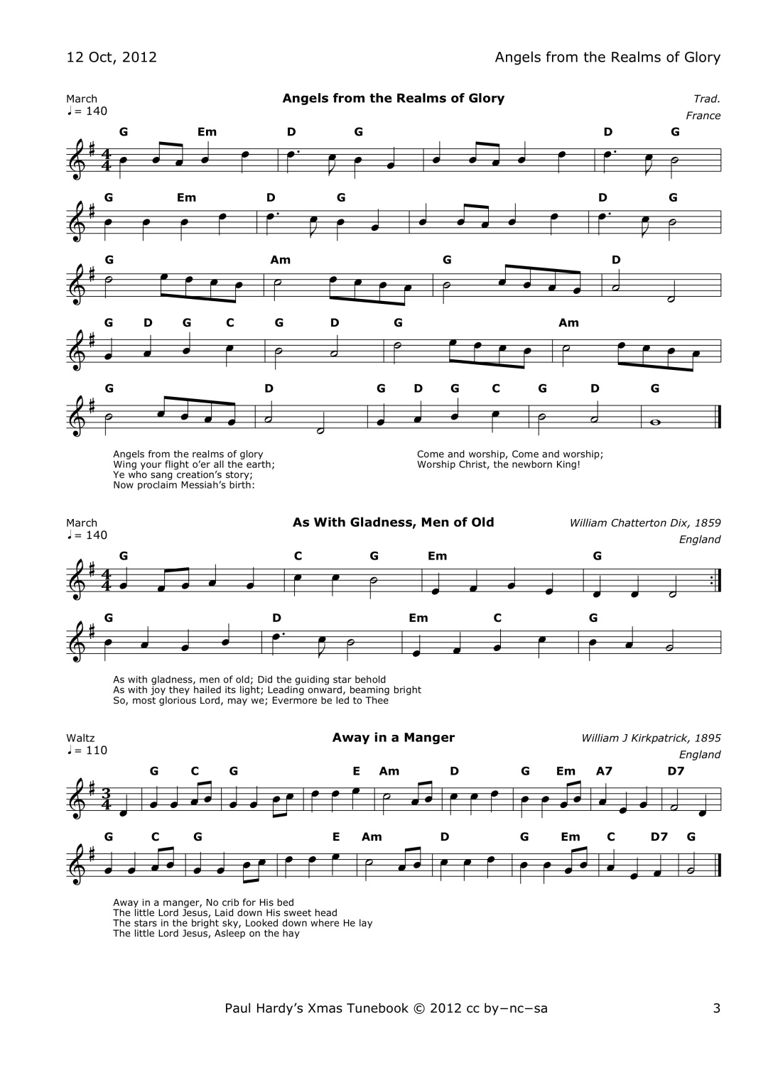 Christmas Songbook Sample Page